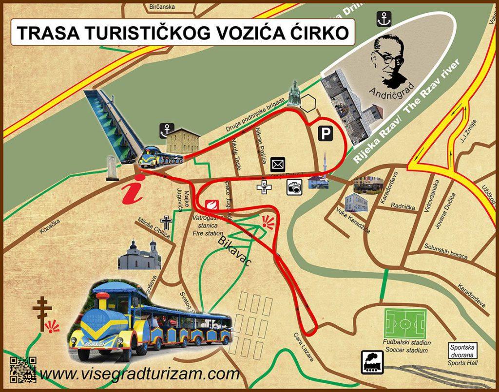 Trasa turistickog voza Cire u Visegradu