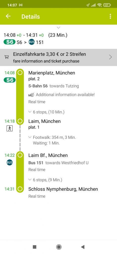MVV aplikacija za prevoz Minhen