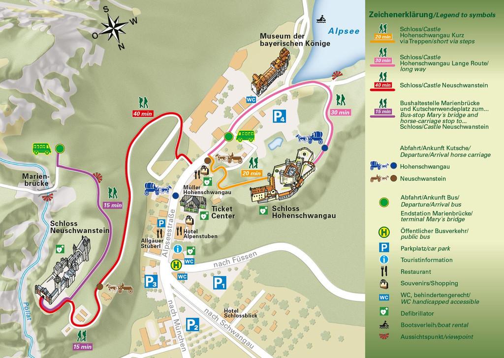 Karta okoline dvorca Neuschwanstein