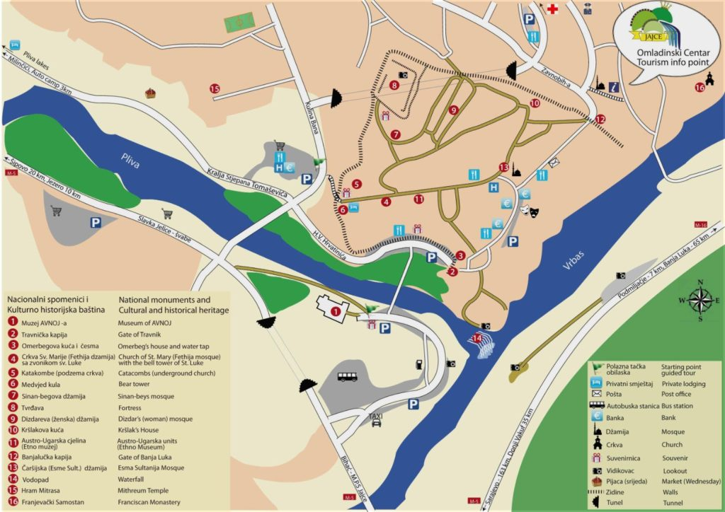 Karta grada Jajca sa znamenitostima